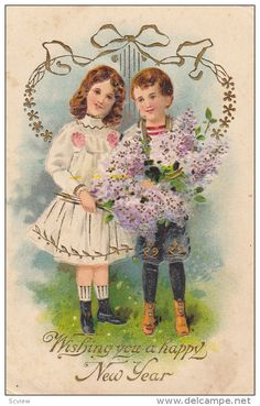 NEW YEAR; Wishing you a happy New Year, Boy and Girl holding bouquet of purple flowers, Gold detail, 00-10s