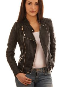 Veste simili cuir femme pull and bear