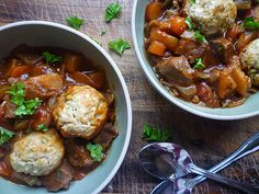 Country Beef Casserole - A hearty casserole of beef and vegetables with herby dumplings. Wine Recipes, Beef Recipes, Soup Recipes, Family Recipes, Yummy Recipes, Recipies, Beef Casserole Recipes, Slow Cooker Recipes, Savoury Dishes