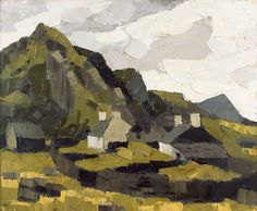 Cottages, Snowdonia by Kyffin Williams Llyfrgell Genedlaethol Cymru / The National Library of Wales Date painted: 1960–1970