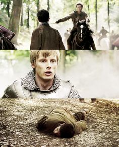 The feels i get with this scene are overwhelming.....Arthur is in the heat of battle and all gun-ho and then he turns and sees Merlin and he just turns into a little kid. He looks so devastated and just stares for a moment like he isn't even comprehending what he is seeing. He looks so lost and alone in that moment and i just can't even.....
