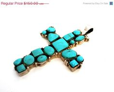 BIG SALE Sterling Silver Turquoise Cross Pendant Vintage Southwestern