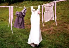 wedding dress on clothesline but with other basic whites