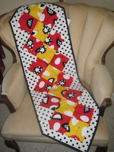 Chicken Poka Dot Table Runner Red Yellow Black by DesignsbyJuliAnn, $44.95. For the chicken lover on your gift list