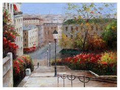 Original Oil Painting Palette Knife Texture Painting Home Decor ORIGINAL Stairs at Montmartre 40 x 30 Oil Colorful Cityscape Park Stairs Trees Red Alley Orange Yellow Blue Sky France ART by Marchella Piery Stairs Architecture, Landscape Architecture, Painted Banister, Black And White Stairs, Stair Art, Building Stairs, France Art, Palette Knife Painting, Italian Artist
