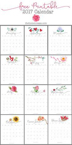 2017 Free Printable Calendar | Fabulous Freebies | Pinterest ...