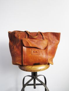 Large Distressed Leather Tote // Vintage Leather Bag SOLD