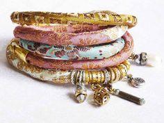 Pastell color silk  brocade wrap  bracelet by ellivira on Etsy, $55.00