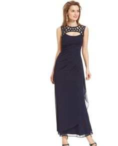 47ce5e7b864 NWT Xscape Sleeveless Formal Long Embellished Gown Dress Navy Blue. Sz 10