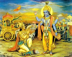 "The Bhagavad Gita, also more simply known as Gita, is a smaller part of the Mahabharata. The Gita is an ancient Hindu text that stresses doing one's duty and having an unwavering faith in God. The name ""Bhagavad Gita"" literally means ""song of God"". Krishna Art, Lord Krishna, Ganesha Art, Krishna Painting, Hindu Deities, Hinduism, Indian Art Gallery, The Mahabharata, Life Guide"