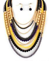 Matte Goldtone Multi Strand Beaded Fashion Necklace and Earrings Set