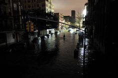 Christos Pathiakis / Getty Images The dark night Severe flooding from Hurricane Sandy submerges cars on Avenue C and Street in lower Manhattan, New York City, on Oct. Storm Surge, New York Studio, Hurricane Sandy, Hurricane Damage, Lower Manhattan, Extreme Weather, Natural Disasters, Ny Times, East Coast