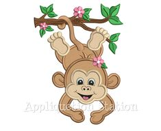 Zoo Baby Monkey Hanging Branch Girl Applique Machine Embroidery Design Jungle Safari Boy Cute animal INSTANT DOWNLOAD by AppliquetionStation on Etsy https://www.etsy.com/listing/293837441/zoo-baby-monkey-hanging-branch-girl