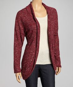 Take a look at this Chris & Carol Heather Wine Open Cardigan on zulily today!
