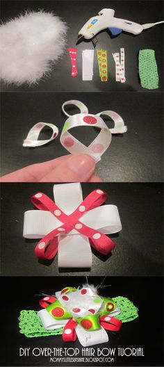 hair bows Over the top hair bow tutorial Making Hair Bows, Diy Hair Bows, Diy Bow, Bow Hair Clips, Bow Making, Hair Ties, Baby Girl Hair Bows, Baby Bows, Baby Girls