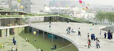 Former Renault factory is re-purposed into a school wrapped in a living envelope designed to attract native fauna.