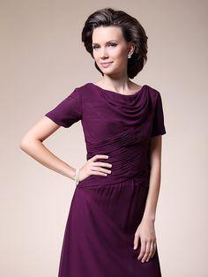 A-line Plus Sizes / Petite Mother of the Bride Dress - Grape Tea-length Short Sleeve Chiffon - USD $ 89.99