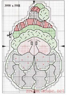 Cross-stitch Santa.. no color chat available, just use the pattern chart as your color guide.    Schema punto croce Decorazione 8b