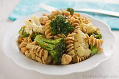 pasta and veggies with white sauce
