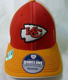 New Reebok NFL KANSAS CITY CHIEFS Team logo Red Yellow Mesh Flex Fit Hat OS  NWOT 35f353bb3