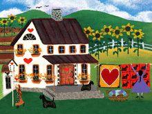 Quilts & Hearts & Scottie Dogs Folk Art Print