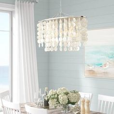 Beachcrest Home Kym Capiz Shell Kitchen Island Pendant Beachcrest Home Kym Capiz Shell Kitchen Island Pendant Rectangle Chandelier, Capiz Chandelier, Coastal Chandelier, Coastal Lighting, Chandeliers, Kitchen Remodel Cost, Island Pendants, Kitchen Furniture, Furniture Ideas