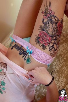 Thigh tattoo by stacy - compass instead of clock