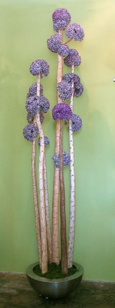 FL 1025 Yucca Poles w/ Purple Allium in Stainless Container $2,200.00 RETAIL  LDF Silk