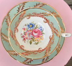 Tea Cup Saucer, Tea Cups, Everything Pink, Green And Gold, Pretty In Pink, Vintage Antiques, Pedestal, Bone China, Tea Time