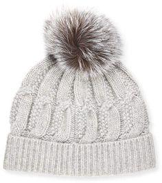 4dbe7a1afad Sofia Cashmere Cable-Knit Cashmere Fur-Pom Beanie Hat