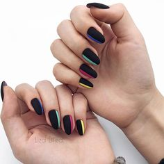 almond nails with black and colourful stripes   DivaNail | VK