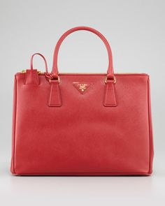 Saffiano Small Double-Zip Executive Tote Bag, Red by Prada at Neiman Marcus.
