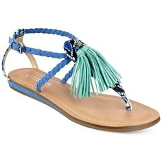 Guess Women's Frannie Tassel Embellished Flat Sandals (€61) ❤ liked on Polyvore featuring shoes, sandals, blue multi, t strap sandals, guess sandals, tassel sandals, boho sandals and blue flat sandals