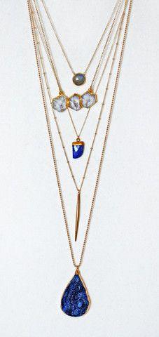 blue QUARTZ druzy necklace