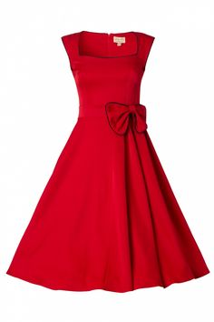 Lindy Bop - 1950s Grace Red Bow vintage style swing dress