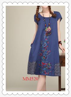 summer dress plus size looselinen cotton dress   MM520 by MM520, $52.00