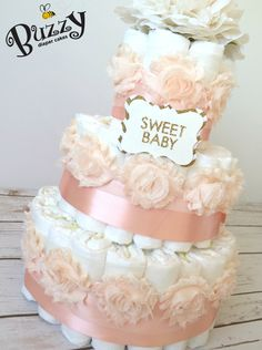 Pink Satin and Rose with Gold 'Sweet Baby' Tag 3 Tier, Shabby Chic Diaper Cake for Baby Girl Shower Centerpiece by BuzzyDiaperCakes on Etsy
