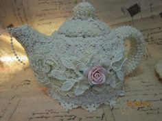 MsGardenGrove1: Altered shabby chic teacup and teapot for Bonnie(Sassyscrappers)Lace challenge