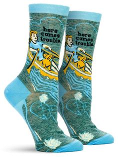 Row, row, row your boat, gently into. If the mischievous look on your face wasn& enough to warrant concern from those around you, let your socks tell Silly Socks, Funky Socks, Crazy Socks, Cute Socks, Awesome Socks, Blue Q Socks, Sock Monster, Gamine Style, Novelty Socks