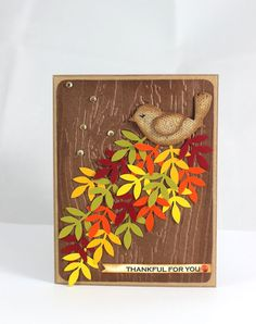 Thanksgiving Card, Thankful for you,  Fall Leaves Card, Autumn Card, Handmade Card, Thanksgiving Bird Card