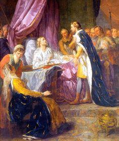 Louis IX, sur son lit de mort, remet à son fils le plan de sa conduite, Jacques-Antoine Beaufort, xviiie siècle, chapelle Saint-Louis de l'École militaire, Paris.