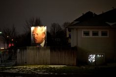 Photo of Donald Trump in a yard in West Des Moines, Iowa