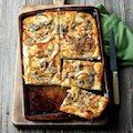 Focaccia with caramelized onion, pears, and blue cheese