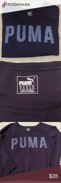 """PUMA Purple Dry Cell Sweatshirt NWOT Puma Dry Cell Tech wide boat neck sweatshirt. New without Tags. Size Medium. Purple with Periwinkle Blue PUMA logo on front.  68% cotton 25% polyester 7% elastane   measurements: 19.75"""" underarm to underarm; Side length 26"""" from underarm to bottom hem; Sleeve length 19.5"""" from Underarm and 26"""" from neck seam to end of cuff.  Length 21.5 from back center neck to hem Puma Tops Sweatshirts & Hoodies"""