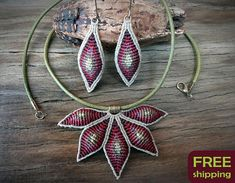 Set of macrame pendant and earrings handcrafted multi color