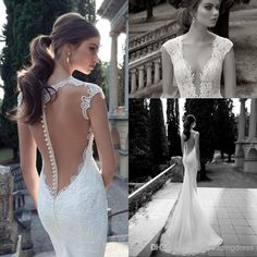 Discount 2014 Sheer Vintage Wedding Dresses Lace Beads Mermaid Short Sleeves Wedding Dresses Beach Wedding Dress With V Neckline Online with $179.0/Piece | DHgate