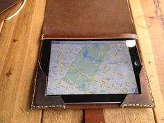 Leather iPad case - tech protecting leather covers - handmade leather gadget case hand stitched in NYC. For more handmade leather iPad cases