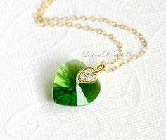 Swarovski Heart Necklace Crystal Fern Green by LemonDreamHouse