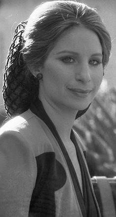Barbra Streisand with her hair in a snood