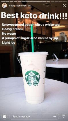 This really is the best Keto Starbucks drink Healthy Starbucks Drinks, Starbucks Secret Menu Drinks, Yummy Drinks, Healthy Drinks, Starbucks Coffee, Starbucks Order, Starbucks Hacks, Sante Bio, Comida Keto